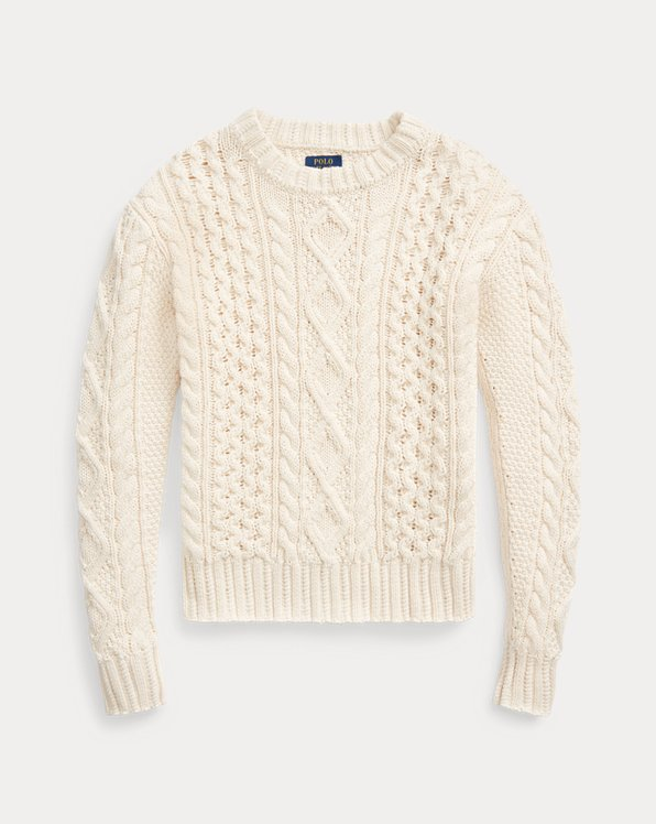Aran-Knit Cotton Jumper