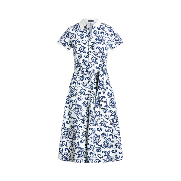 Ralph Lauren Floral Belted Cotton Dress In White