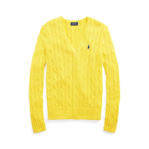 Polo Ralph Lauren Cable Knit Cotton V Neck Sweater
