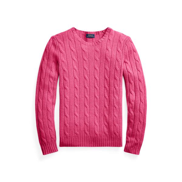 폴로 랄프로렌 Polo Ralph Lauren Cable Knit Cashmere Sweater,Exotic Pink