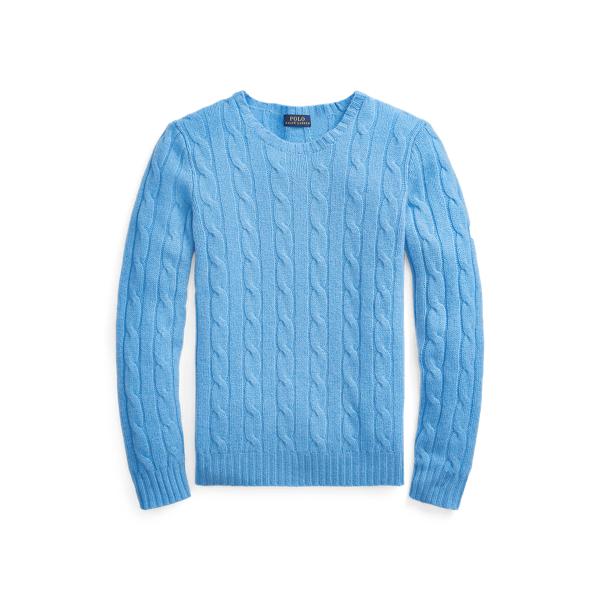 폴로 랄프로렌 Polo Ralph Lauren Cable Knit Cashmere Sweater,Finish Blue