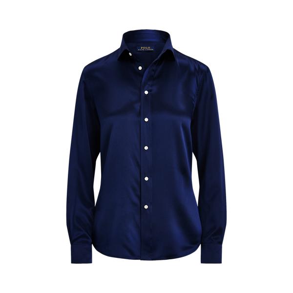 폴로 랄프로렌 우먼 실크 샤르뫼즈 셔츠 Polo Ralph Lauren Silk Charmeuse Shirt, Dark Cobalt
