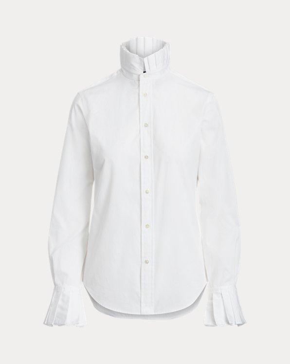 Camisa de algodón con ribete de pliegues