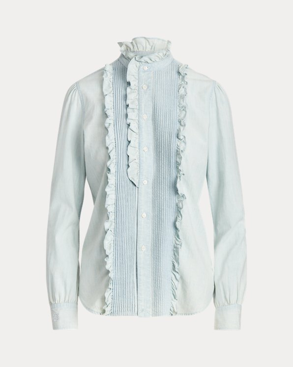 Ruffle-Trim Chambray Shirt