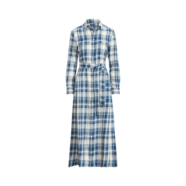 폴로 랄프로렌 Polo Ralph Lauren Plaid Cotton Shirtdress,Blue/White
