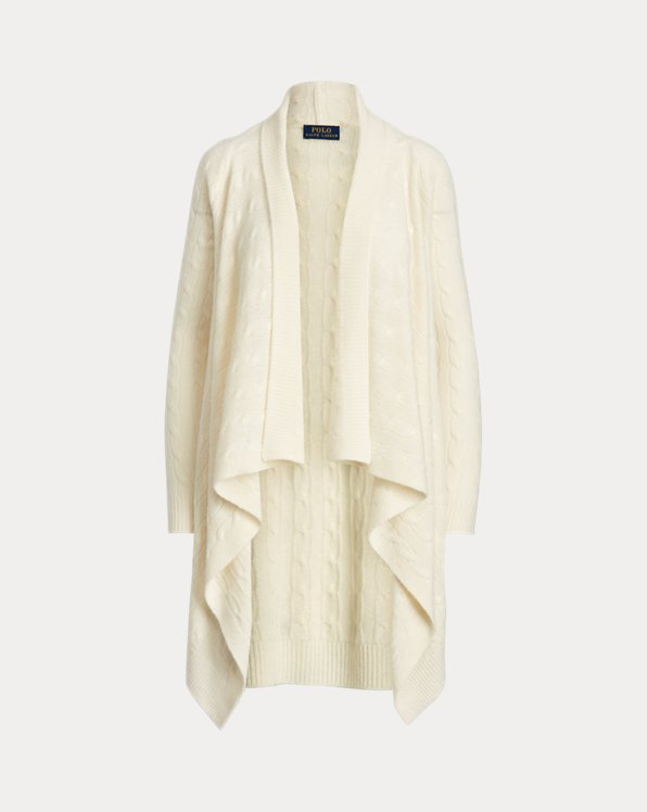 Cable-Knit Cashmere Wrap Cardigan