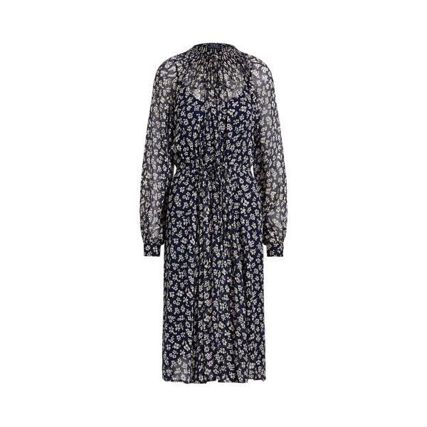 폴로 랄프로렌 Polo Ralph Lauren Floral Print Long Sleeve Dress,Navy/Cream Floral