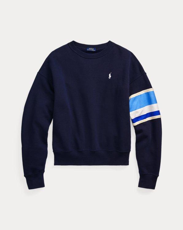 Striped-Trim Fleece Sweatshirt