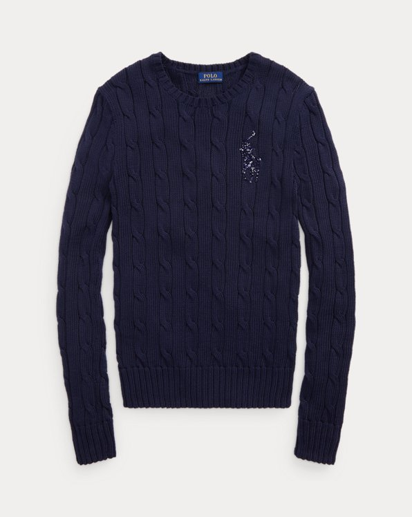 Beaded-Pony Cable-Knit Jumper