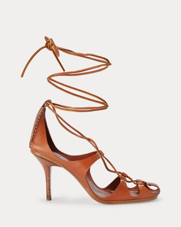 Sandales en cuir de vachette avec liens