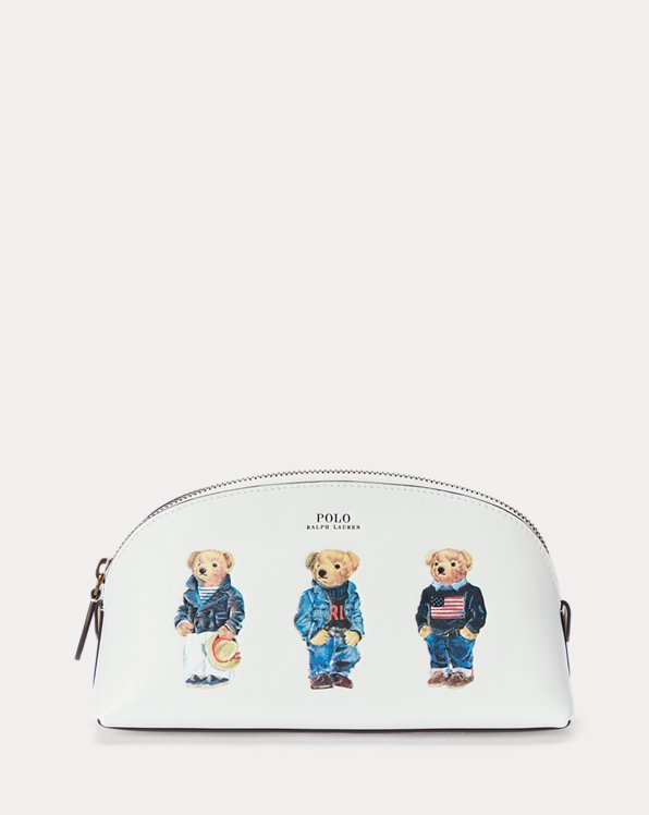 Polo Bear Leather Cosmetic Pouch