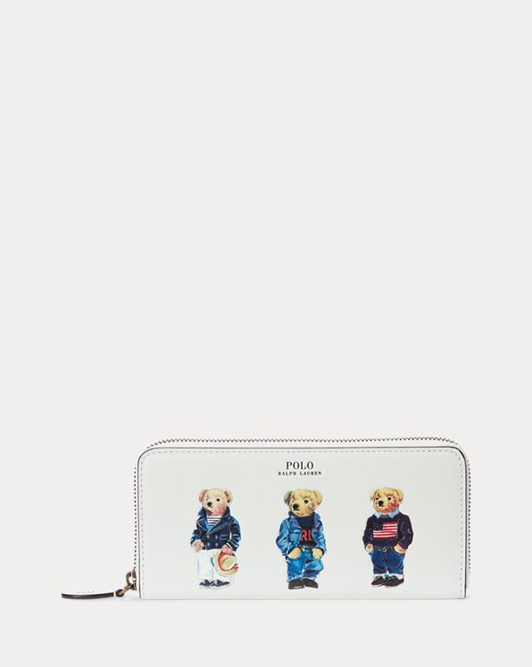 Polo Bear Leather Zip-Around Wallet