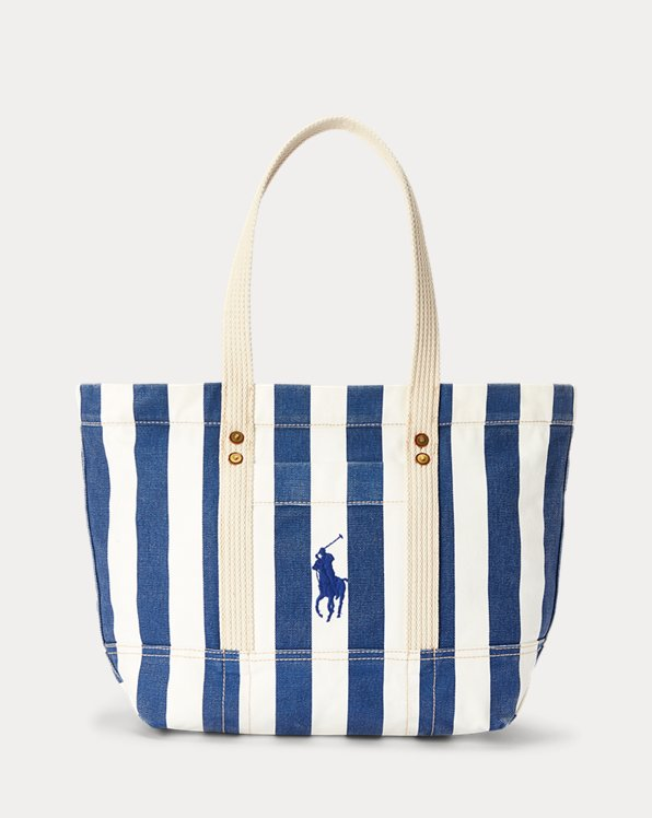 Striped Canvas Medium Tote