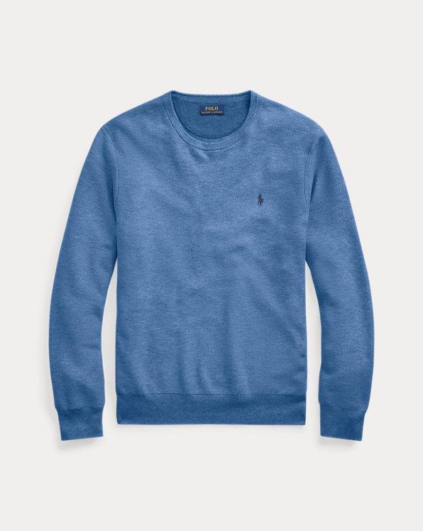 Mesh-Knit Cotton Crewneck Sweater