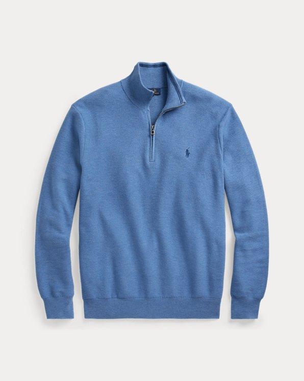 Cotton Mesh Quarter-Zip Sweater