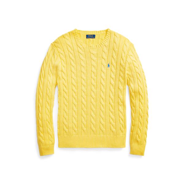 폴로 랄프로렌 스웨터 Polo Ralph Lauren Cable-Knit Cotton Sweater,Empire Yellow