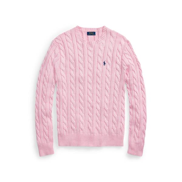 폴로 랄프로렌 맨 꽈배기 니트 스웨터 - 핑크 (윤계상 착용) Polo Ralph Lauren Cable Knit Cotton Sweater Carmel Pink 515061