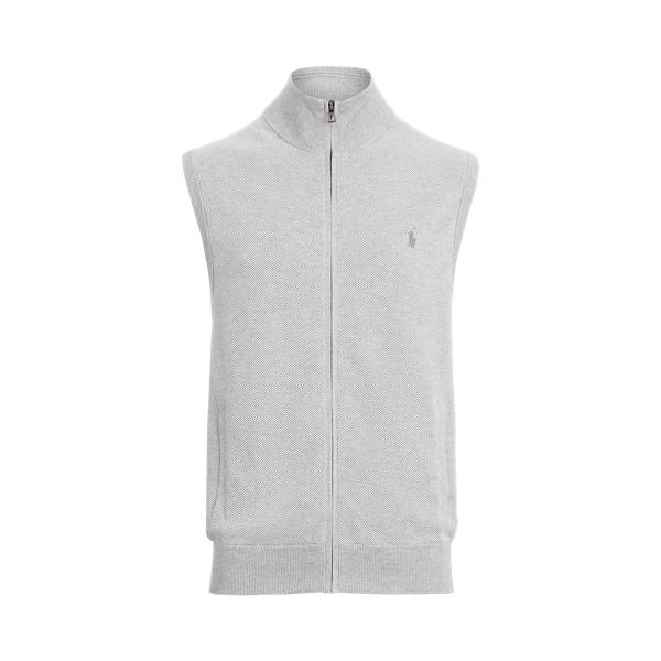 폴로 랄프로렌 조끼 Polo Ralph Lauren Birdseye Knit Cotton Full-Zip Vest,Grey Birdseye