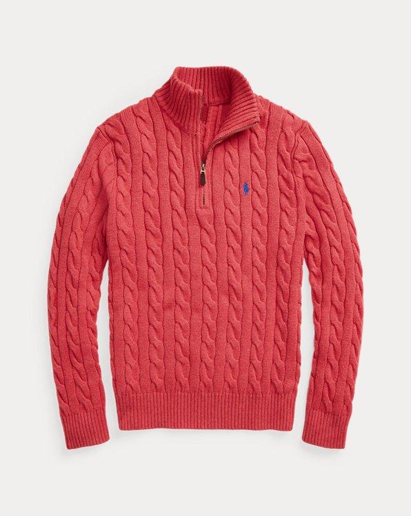 Cable-Knit Cotton Quarter-Zip Sweater
