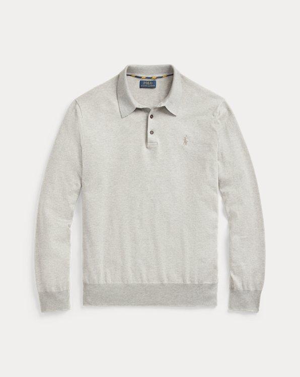 Striped Cotton Polo-Collar Sweater