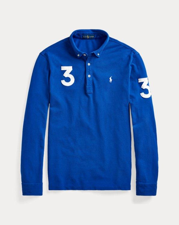 Classic Fit Mesh Long-Sleeve Polo Shirt