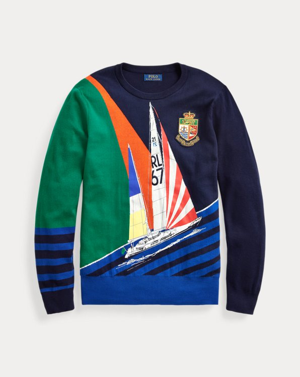 Sailboat-Print Cotton Sweater