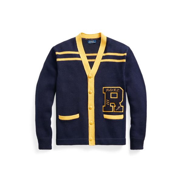 폴로 랄프로렌 맨 코튼 린넨 레터맨 가디건 Polo Ralph Lauren Cotton Linen Letterman Cardigan,Navy Multi