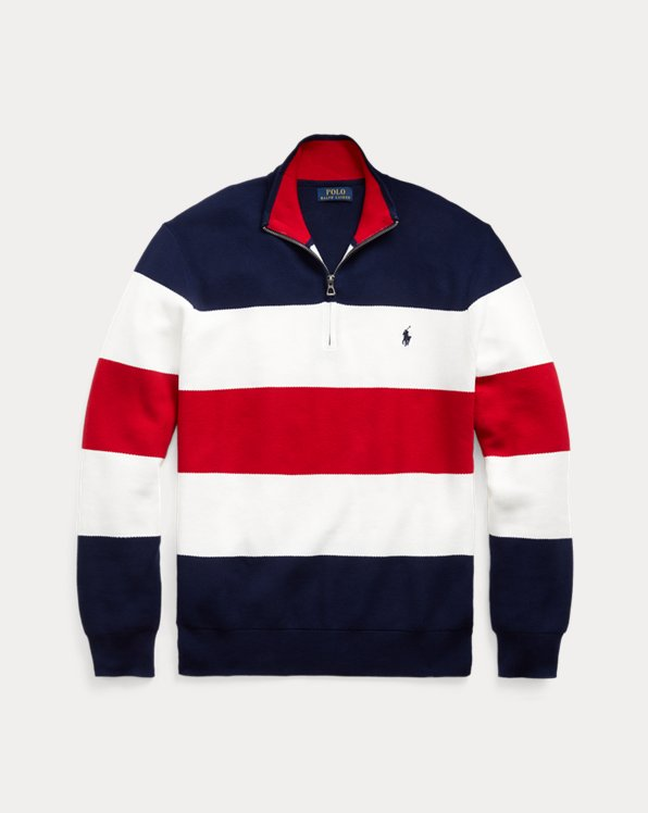 Striped Cotton Mesh Quarter-Zip Sweater
