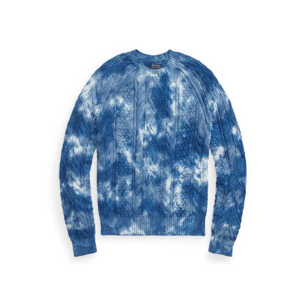 폴로 랄프로렌 맨 타이다이 아란 니트 스웨터 Polo Ralph Lauren Tie Dye Aran Knit Cotton Sweater,Indigo