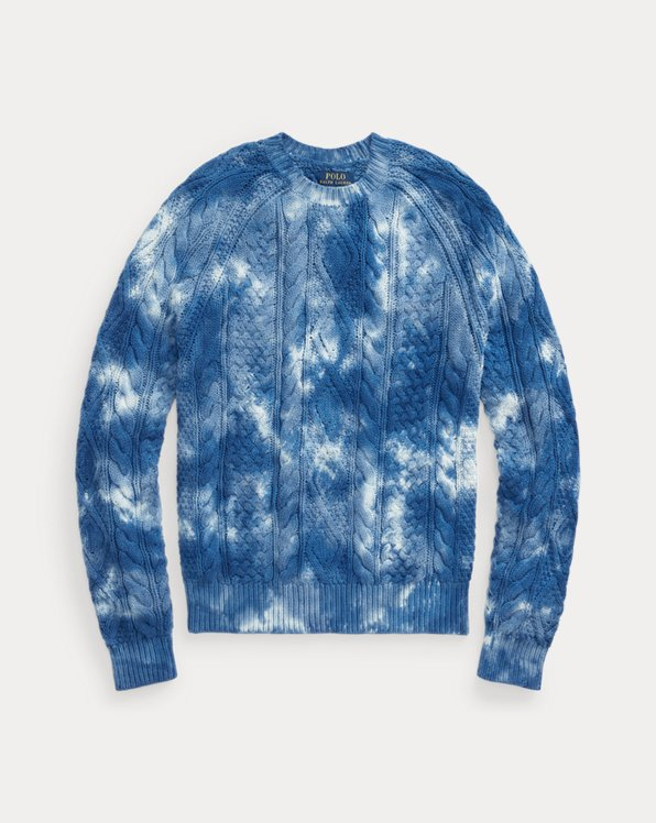 Tie-Dye Aran-Knit Cotton Jumper