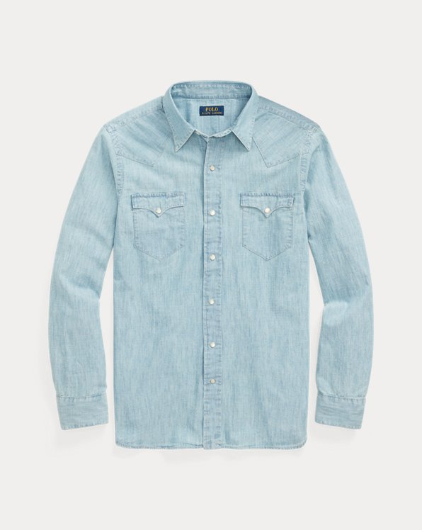 Classic Fit Chambray Western Shirt