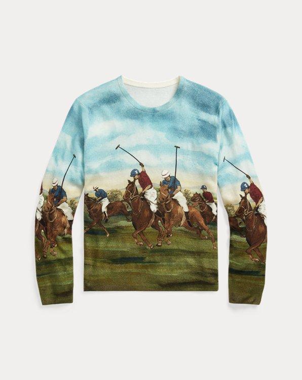 Equestrian-Print Cashmere Jumper