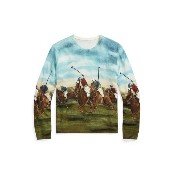 Ralph Lauren Equestrian-print Cashmere Sweater In Scenic Multi