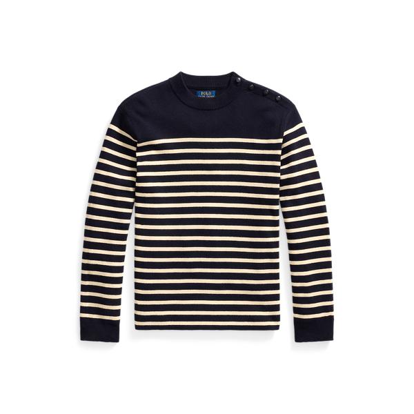 폴로 랄프로렌 맨 스트라이프 니트 스웨터 Polo Ralph Lauren Striped Cotton Cashmere Crewneck Sweater,Navy Cream