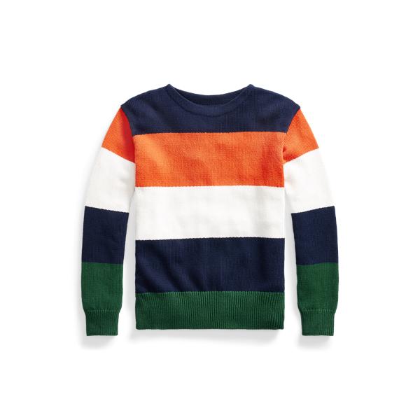 폴로 랄프로렌 맨 스트라이프 니트 스웨터 Polo Ralph Lauren Striped Cotton Linen Crewneck Sweater,Navy Multi