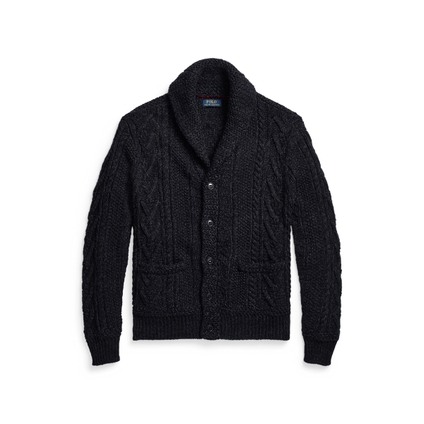 폴로 랄프로렌 맨 아란 니트 가디건 Polo Ralph Lauren Aran Knit Cotton Blend Shawl Cardigan,Navy
