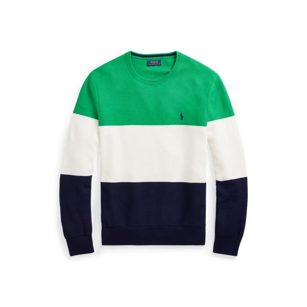 폴로 랄프로렌 맨 컬러블록 매쉬 니트 스웨터 Polo Ralph Lauren Color Blocked Mesh Knit Cotton Sweater,Green/White/Navy