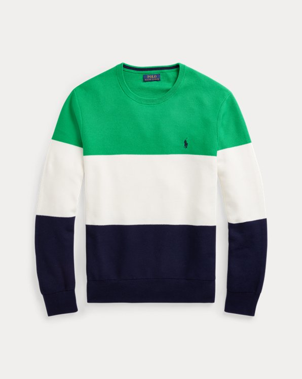 Color-Blocked Cotton Mesh Sweater