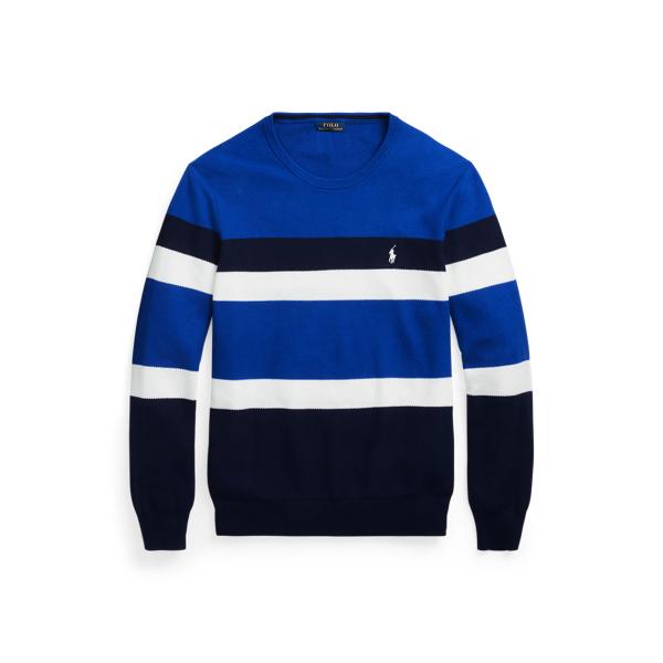 폴로 랄프로렌 맨 스트라이프 니트 스웨터 Polo Ralph Lauren Striped Mesh Knit Cotton Sweater,Royal/White/Navy