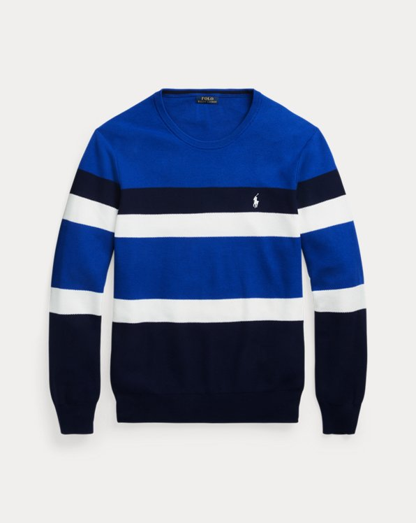 Striped Cotton Mesh Sweater