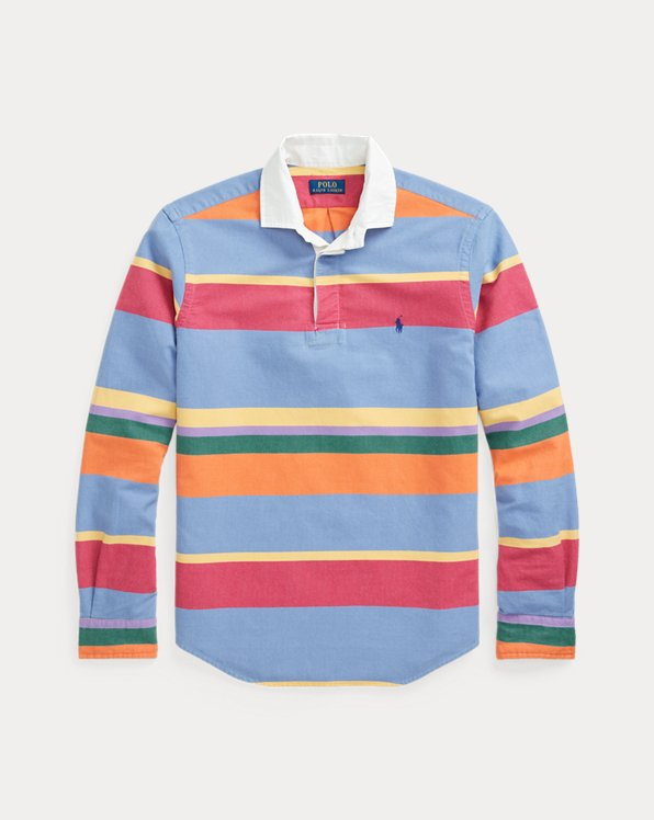 Classic Fit Striped Oxford Rugby Shirt