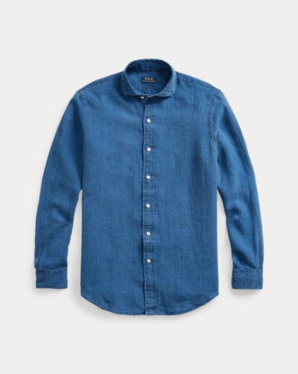Chemise à pois classique en lin indigo