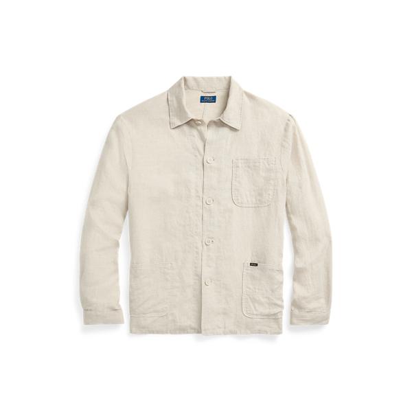 Ralph Lauren Classic Fit Linen Workshirt In Tan