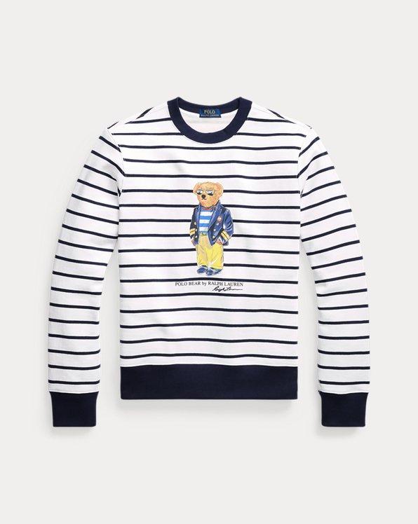 Striped Polo Bear Fleece Sweatshirt