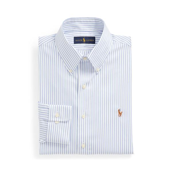 폴로 랄프로렌 셔츠 Polo Ralph Lauren Custom Fit Striped Oxford Shirt,White/Azure