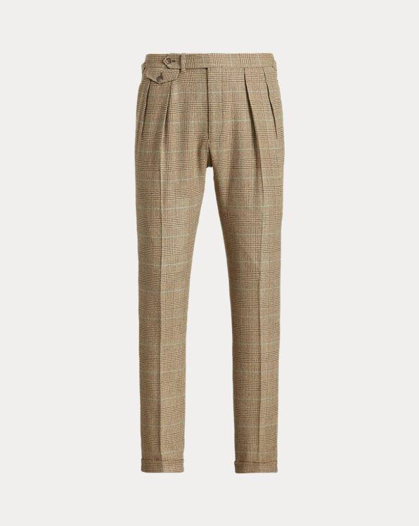 Pleated Plaid Tweed Suit Trouser
