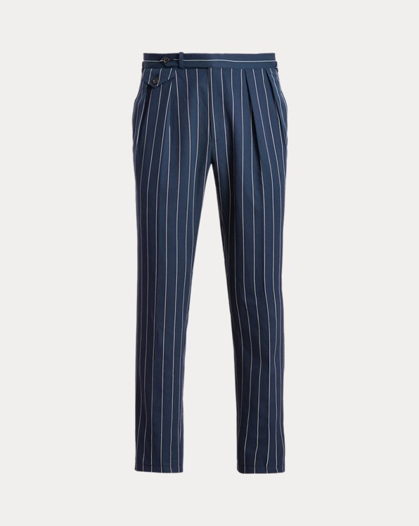 Pleated Striped Twill Suit Trouser