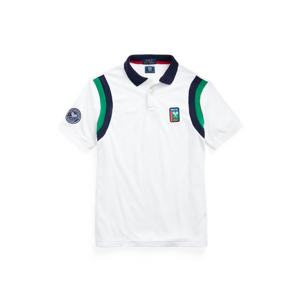 폴로 랄프로렌 '2021 윔블던 컬렉션' 맨 테리 폴로 셔츠 (커스텀 슬림핏) Polo Ralph Lauren Wimbledon Custom Slim Terry Polo Shirt,Pure White Multi