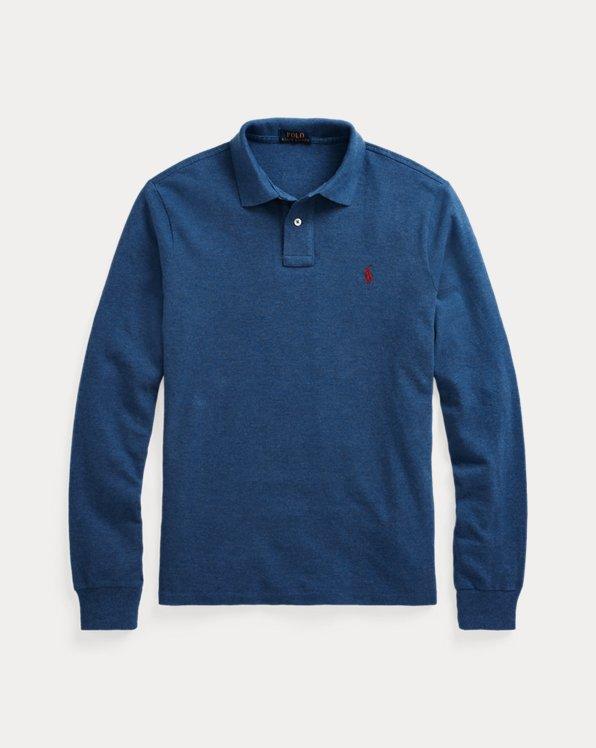 Mesh Long-Sleeve Polo Shirt