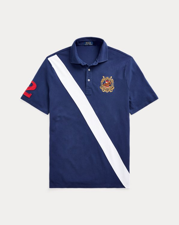 Banner-Stripe Mesh Polo Shirt